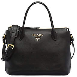 Prada Women's Daino Leather Top-Zip Tote