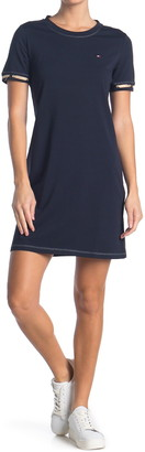 Tommy Hilfiger Laced Sleeve Logo T-Shirt Dress
