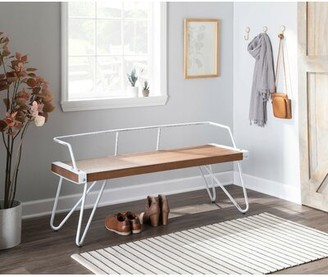 Laurel Foundry Modern Farmhouse Abigale Low Back Metal Bench Color: Vintage White/Brown