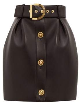 Versace Belted Leather Mini Skirt - Womens - Black