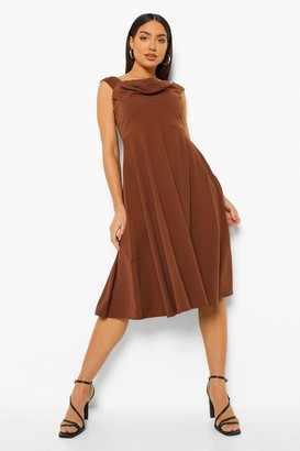 boohoo Draped Neckline Midi Skater Dress