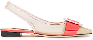 Sergio Rossi Sr Milano Mia Buckled Patent-leather And Mesh Slingback Point-toe Flats