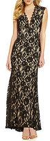 Aidan Aidan Mattox Tonal Floral-Lace Cutout Gown