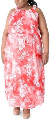 Robbie Bee Plus Size Floral-Print Maxi Dress