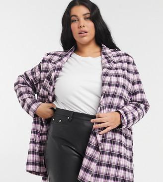 Heartbreak Plus oversized dad blazer in pink and black check