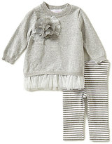Bonnie Jean Bonnie Baby Baby Girls Newborn- 24 Months Flower-Detailed Pullover Sweater & Striped Knit Leggings