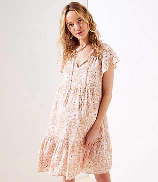 LOFT Petite Maternity Floral Vine Tiered Dress