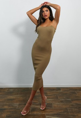 Missguided Tall Camel Transparent Strap Knitted Midaxi Dress
