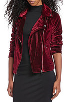 Steve Madden Notch Collar Velvet Moto Jacket