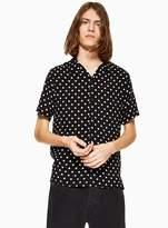 Topman Black Polka Dot Revere Shirt