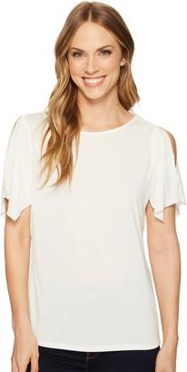 Ellen Tracy Women's Slit Flutter Sleeve Top