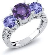 Gem Stone King 2.02 Ct Round Purple Amethyst Blue Tanzanite 925 Sterling Silver 3-Stone Ring