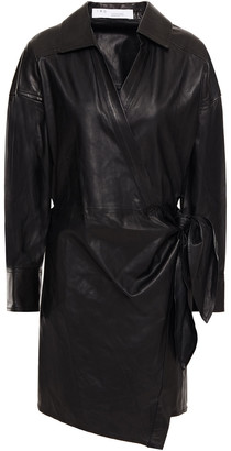 IRO Perrine Leather Mini Wrap Dress