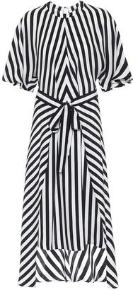 Stella McCartney Striped silk asymmetric midi dress