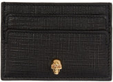 Alexander McQueen Black and Gold Lino Skull Card Holder