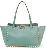 Valentino The Rockstud Small Textured-leather Tote - Mint