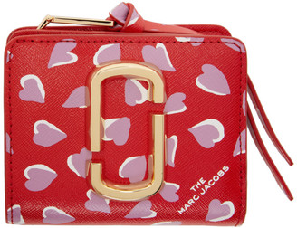 Marc Jacobs Red Mini Snapshot Hearts Compact Wallet
