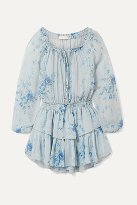 LoveShackFancy Popover Tiered Floral-print Silk-georgette Mini Dress - Light blue