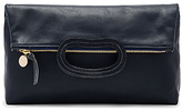 Clare Vivier Marcelle Foldover Clutch in Navy.