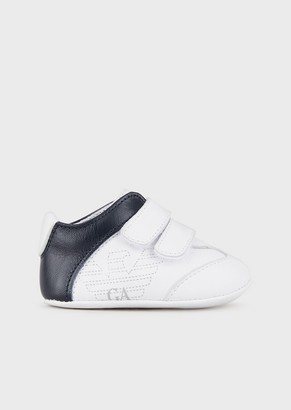 Emporio Armani Two-Colour Leather Shoes With Logo