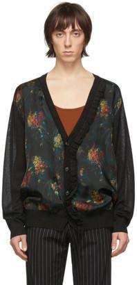 Dries Van Noten Black and Multicolor Floral Ruffle Cardigan