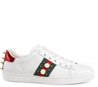 Gucci New Ace Studded Web Low-Top Sneakers, White