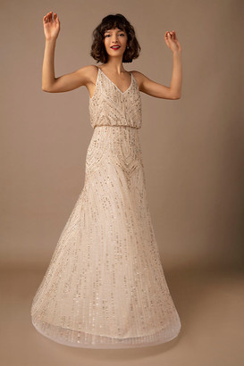 BHLDN Fidelia Beaded Maxi Dress By in Beige Size 8