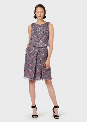 Emporio Armani Chiffon Dress With Eyeglasses Print And Godet Pleats