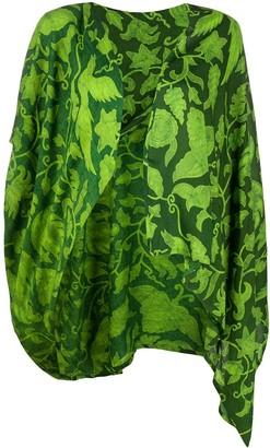 Yohji Yamamoto Pre Owned 1990s Leaves Print Draped Jacket