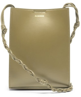 Jil Sander Tangle Small Knotted-strap Leather Cross-body Bag - Dark Green