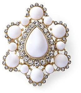 JCPenney White & Crystal Medallion Pin