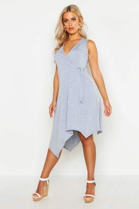 boohoo Plus Wrap Front Hanky Hem Dress