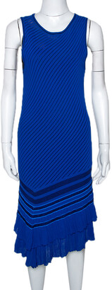 Roberto Cavalli Blue Stretch Knit Asymmetric Hem Dress M