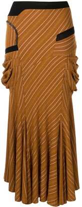 KIKO KOSTADINOV Striped Flared Midi Skirt