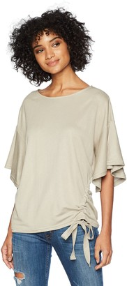 EVIDNT Women's Short Sleeve TOP with Asymmetric Shirring Detail