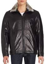 Andrew Marc Leather Rabbit Fur Collar Jacket
