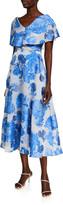 Lela Rose Oversized Rose Fil Coupe Open-Neck Dress