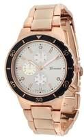 Geneva Platinum Women's Rhinestone Color Pop Link Watch - Rose Gold/Black