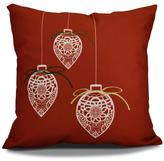 16 in. Filagree Ornaments Holiday Red Pillow