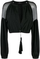 Wandering - sheer panel cropped jacket - women - Silk/Polyester/Spandex/Elastane - 44
