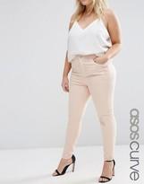 Asos Ridley Skinny Jean In Petal Pink With Rip & Repair