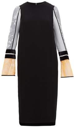 Mame Kurogouchi - Silk Floral Print Sleeves Midi Dress - Womens - Black Multi