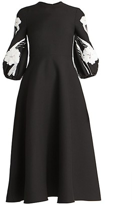 Valentino Embellished Puff-Sleeve Virgin-Wool & Silk Flare Dress