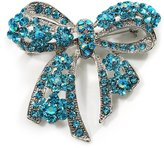 Avalaya Stunning Light Blue Swarovski Crystal Bow Brooch (Silver Tone)