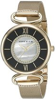 Anne Klein Women's AK/2150MPGB Glitter-Accented Watch With Gold-Tone Mesh Bracelet