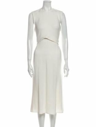 Victoria Beckham Crew Neck Midi Length Dress White
