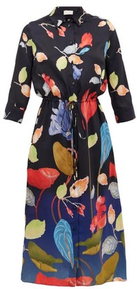 Peter Pilotto Floral-print Satin-faille Shirt Dress - Black Multi