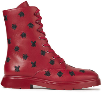 Stuart Weitzman Mckenzee Embroidered Leather Combat Boots