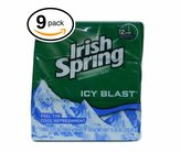 (PACK OF 9 BARS) Irish Spring ICY BLAST SCENT Bar Soap for Men & Women. 12-HOUR ODOR / DEODORANT PROTECTION! For Healthy Feeling Skin. Great for Hands, Face & Body! (9 Bars, 3.75oz Each Bar) by Irish Spring