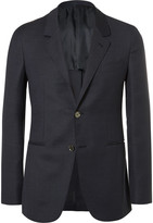 Caruso Blue Butterfly Slim-Fit Unstructured Wool, Mohair and Silk-Blend Blazer